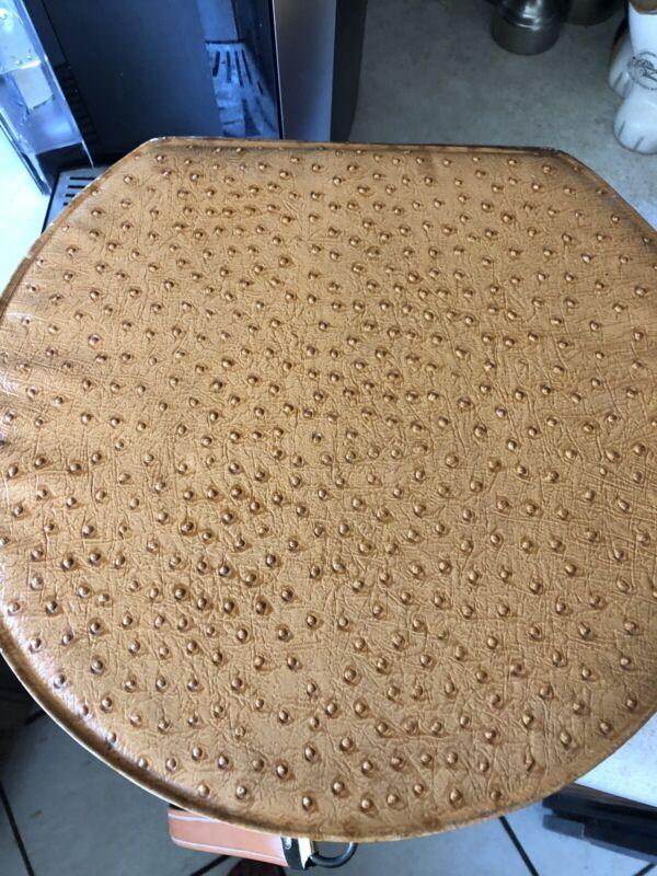 Vintage Brown Ostrich Faux Round Hat Box
