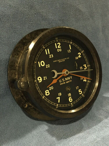 ** Fully Restored** WWII US NAVY 12/24 Chelsea Ship Clock Serial No. 450744