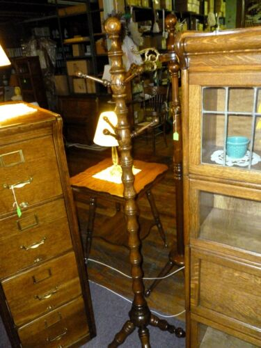 Antique Oak Clothes Tree turned column hat coat rack refinished 1900