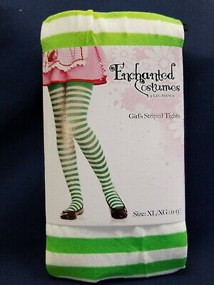 Green And White Striped Tights (Striped Green And White Tights Enchanted Costumes Size XLarge (11-13))