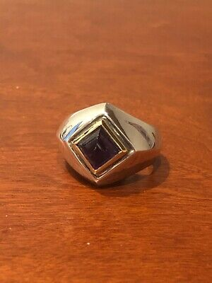 Sterling Silver square amethyst cabachon gemstone ring