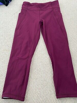 Lululemon All The Right Places Crop leggings - Size UK12 Dark Red/Burgendy
