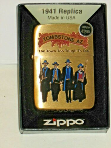 NEW Windproof Zippo USALighter 80813 Tombstone Town too Tough to Die Brush Brass