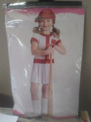 Red And White Softball Costume With Cap **see description size medium 8-10 - Red And White Costumes
