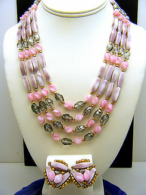 Vintage Hobe Necklace Earring Set 4 Strand Pink Lavender Foiled Lava Glass Beads on Lookza