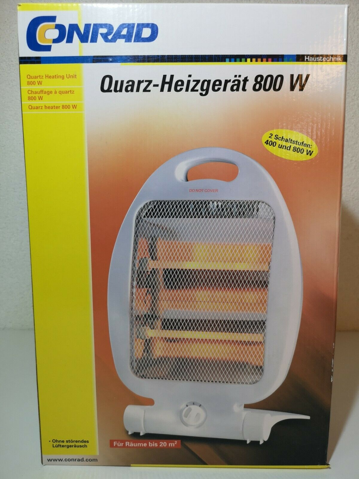Conrad Quarz Heizgerät 800W RH06 Halogenheizer bis zu 20qm Wärmegerät OVP