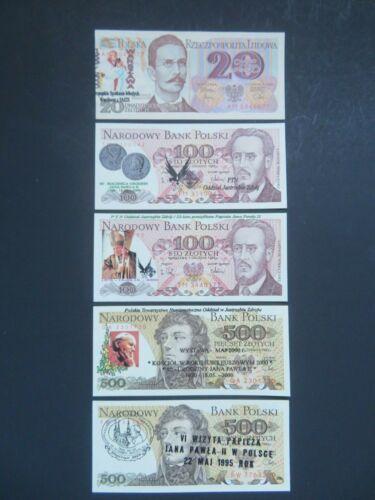 POLAND 1982-88 - PRL NOTES ( SET OF 5 ) OVERPRINT  - NARODOWY BANK -GEM UNC
