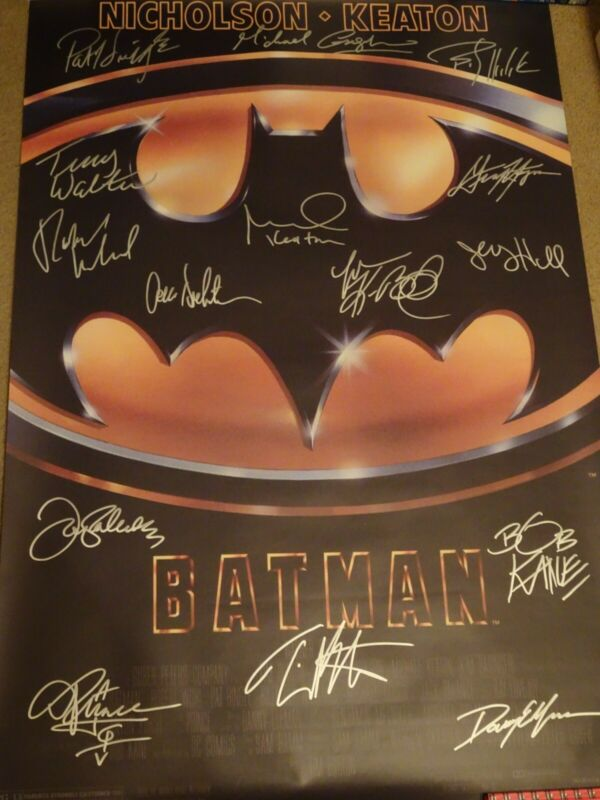 AMAZING Batman (1989) Signed Movie Poster 15 Sigs!! autographed w/ Prince, Kane!