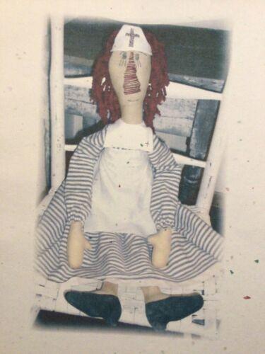 PATTERN Primitive Nurse Doll Raggedy Ann Doll RN Doll UNCUT OOP Hootin Annies