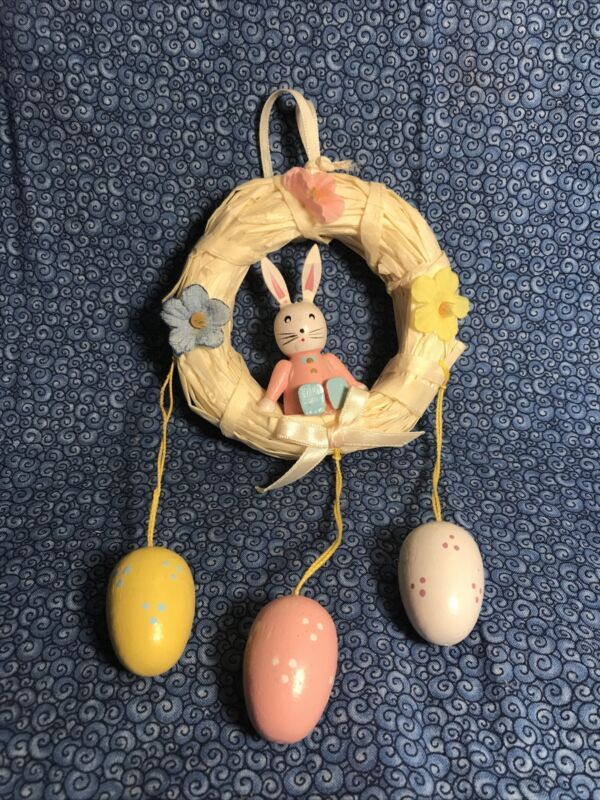 Straw Wreath Tree Ornament Shabby Bunny  Easter Miniature With Dangling Eggs
