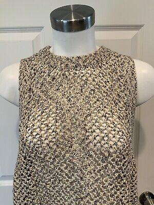 John + Jenn Cream, Tan, & Brown Metallic Open Knit Sleeveless Sweater, Size M