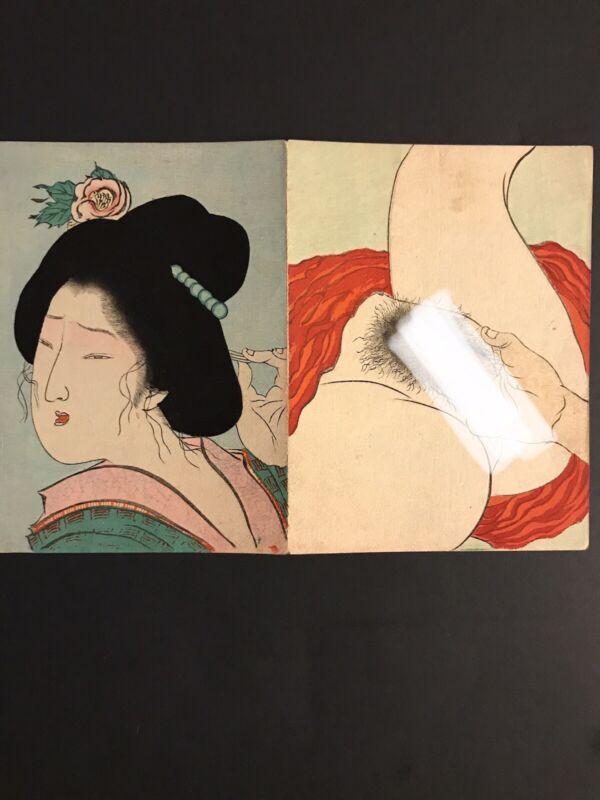 Original Tomioka Eisen Japanese Woodblock Shunga Print - F