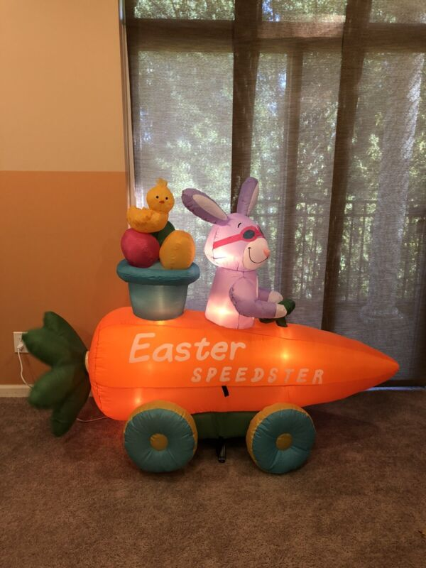 Gemmy Prototype Animated Airblown Inflatable Easter Speedster Race Car Blow Up