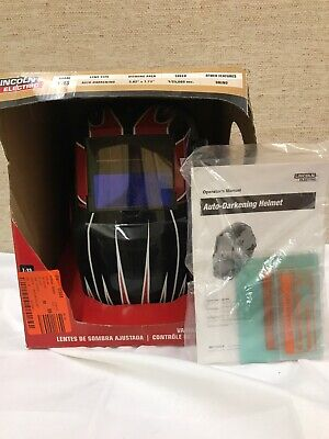 Lincoln Electric 7-13 Shade Auto-darkening Welding Helmet K3063-1 Red Fierce