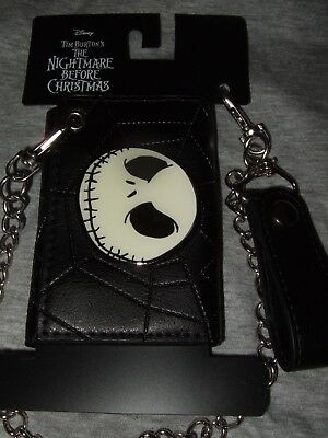 The Nightmare Before Christmas Jack Skellington Disney Tri Fold Wallet And Chain