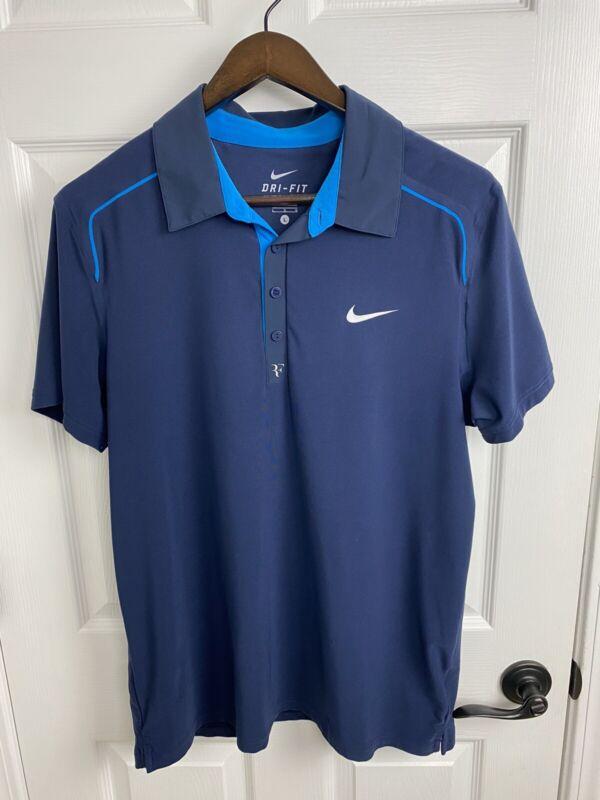 Roger Federer Nike 2011 WTF London Polo Shirt Mens Size Large RF Tennis RAFA