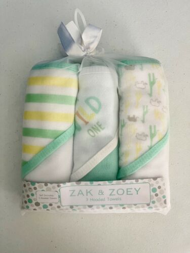 NEW Zak & Zoey 3 Green Giraffe Animals Hooded Towel Set Baby Bath