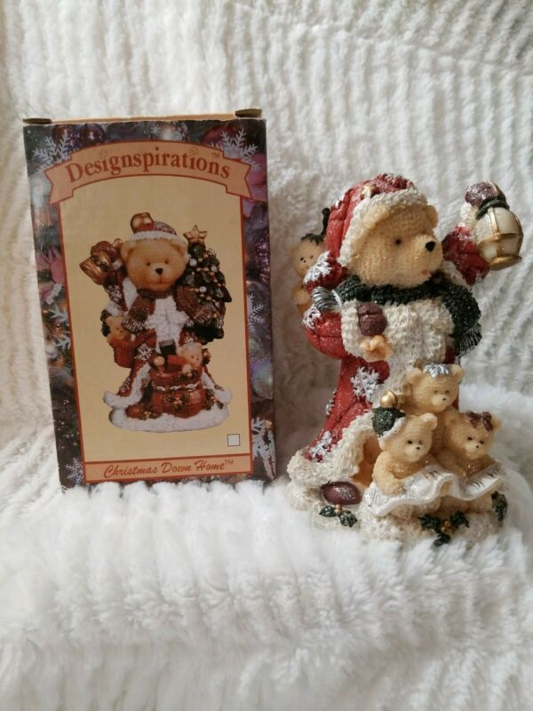 Designspirations Christmas Down Home Teddy Bear Santa Figurine 2002