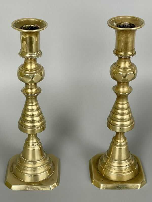 Fine Antique 19th C ENGLISH BRASS BEEHIVE Push Up CANDLESTICKS RD #223580