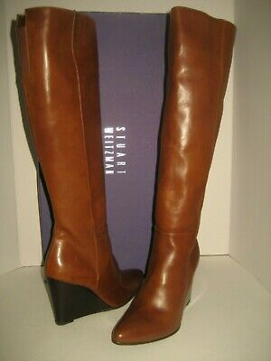 NEW Stuart Weitzman Vim Women US 6.5 Saddle Brown Knee-High Wedge Leather Boots Flexible Womens Saddle