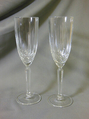 2 Waterford Crystal Stemware Marquis Champagne Flutes Glasses 9.5 inches tall Marquis Stemware Flute