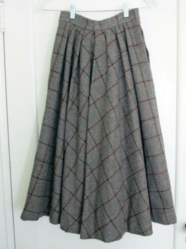 VINTAGE ELLEN TRACY Worsted Wool Plaid Full Skirt Grey/Brown/Dk Green Sz 5/6