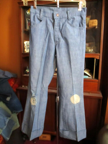26x25 true Vtg 70s Boys LEVIS THIN FLARE BOOTCUT CHAMBRAY HIPPY RELIC JEANS