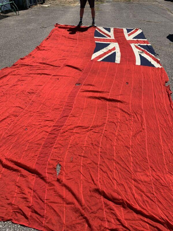Antique Large Red Duster Ensign Flag Union Jack Sewn Navy HUGE '7 Yard' 640cm