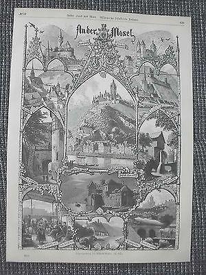 Mosel Ansichten Cochem Carden Beilstein HOLZSTICHE von 1879 Alken Clotten