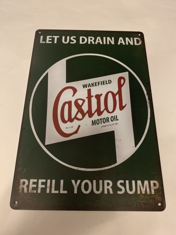 Castrol Wakefield Motor Oil Tin Sign Gas Pump Oil Can Metal Poster New