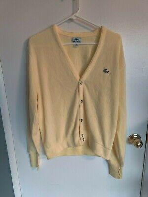 Vintage Lacoste Men's Yellow Cardigan Sweater Alligator Logo