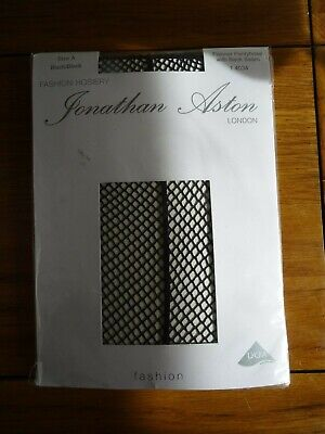 Jonathan Aston Fishnet Tights with Back Seam Size A Black
