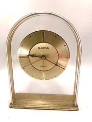 Vintage 1980s Bulova West Germany Quartz Brass Desk Alarm Clock **Works**