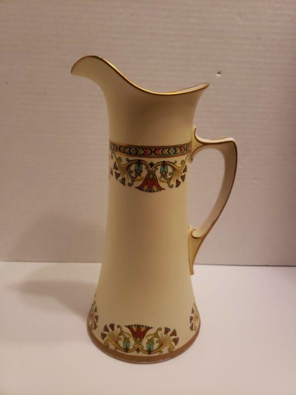 Antique Empire China tall Art Deco design pitcher