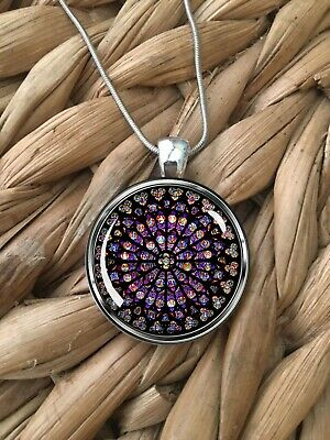 Notre Dame Rose Window Stained Glass Paris Pendant Silver Chain Necklace NEW