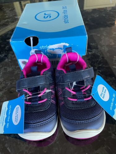 NIB Stride Rite Carson Girls Shoes Size 4.5 M Navy and Pink Also Fits Wide Feet