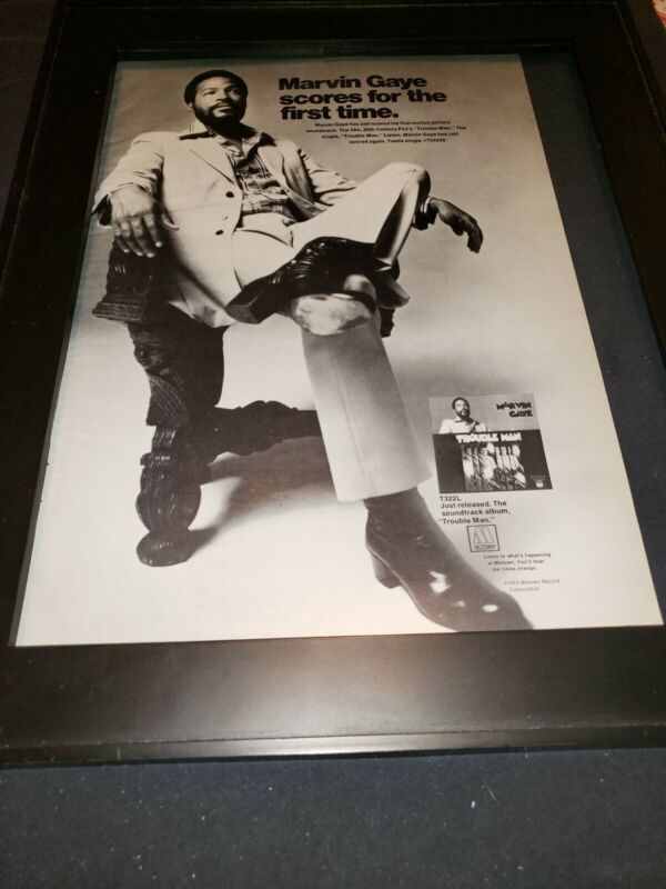 Marvin Gaye Trouble Man Rare Original Promo Poster Ad Framed!