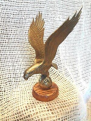 Vintage Brass American Eagle Sculpture on Finished White Oak Base (American Oak Base)