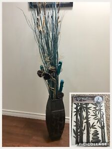 Vase with branches and 3D wall decor