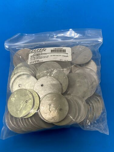 """Electromark Y622097 Blank Aluminum Metal Round Tags (100 Tags) 1.5"""" 1 1/2"""" x 1/8"""