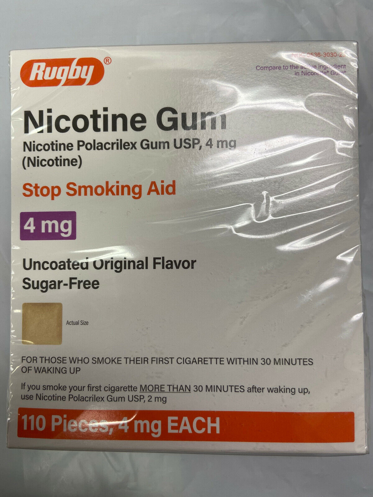 100 Rugby Sugar Free Nicotine Polacrilex Gum 4 MG Uncoated Original Flavor - $19.95