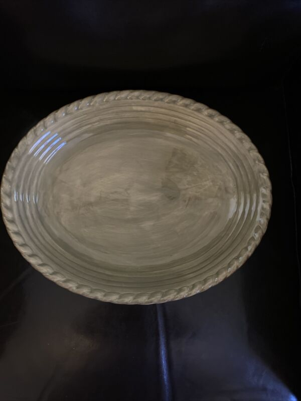 ARTIMINO TUSCAN COUNTRYSIDE SAGE GREEN LARGE OVAL SERVING PLATTER w/ ROPE EDGE