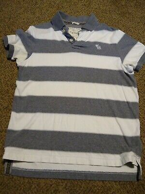 Abercrombie & Fitch Muscle Polo Shirt Men's Large Gray & White Striped