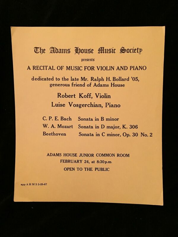 ROBERT KOFF violin - CONCERT POSTER Feb 24, 1967 - HARVARD Adams House