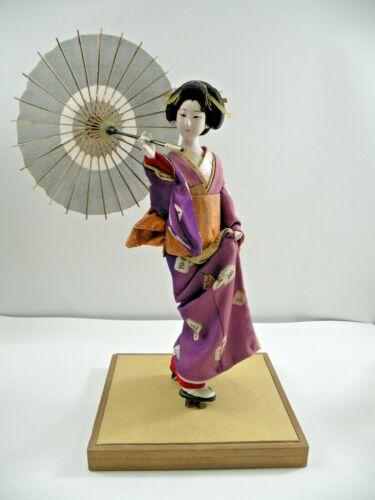 "Antique Japanese Gofun Silk 13"" Geisha Doll Circa 1930"