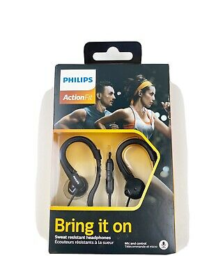 Philips ActionFit Sports Headphones with Mic Hooks Around The Ear, Black