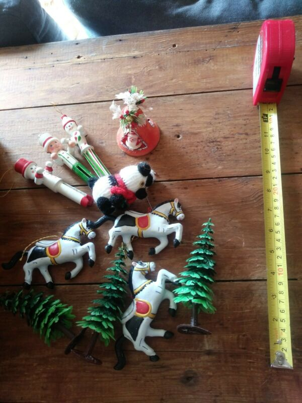 Vintage Christmas assorted ornaments decorations lot Santa tree deer retro craft