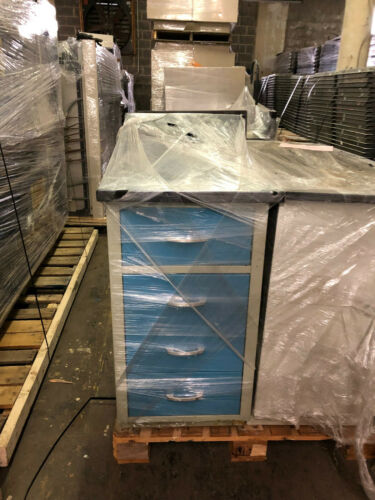 """18"""" Hamilton Blue Drawer Lab Bench Casework with Epoxy Top"""