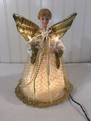 "Angel Christmas Tree Topper 10 Light Up 10 1/2"" Porcelain Head Holiday Merry"