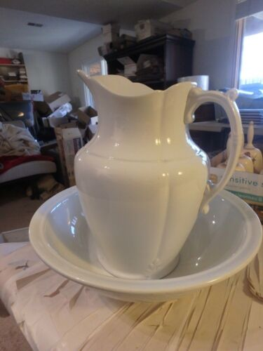 """FFFF-J & G Meakin ironstone 15"""" white basin and 15"""" pitcher- mint with crazing"""